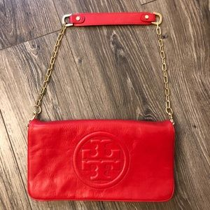 Tory Burch Reva Bombe Clutch Red Gently Used